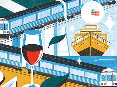 Chicago colour michael driver train travel digital editorial folioart illustration