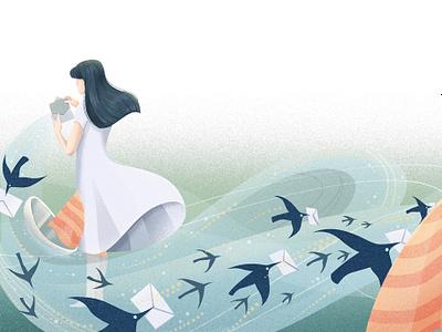Black Bora weitong mai whimsical birds poetry texture editorial folioart digital illustration