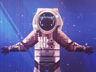 Astronaut james gilleard glitch character stars space astronaut texture folioart digital illustration