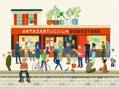 Bookshop character folioart hifumiyo city people retro digital illustration