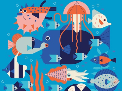 Umbrella creatures sea ocean owen davey wildlife underwater fish pattern folioart digital illustration