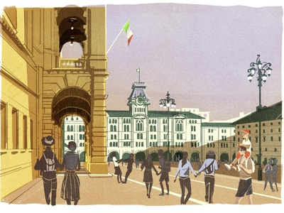 Italy summer alex green people architecture italy travel editorial folioart digital illustration