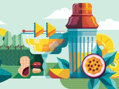 Sustainable Cocktails landscape maite franchi fruit business drink editorial folioart digital illustration