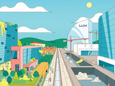 Land Privatisation kiki ljung cityscape colour line vector editorial folioart digital illustration
