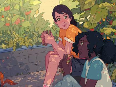 Garden ricardo bessa food garden girl book narrative character folioart digital illustration