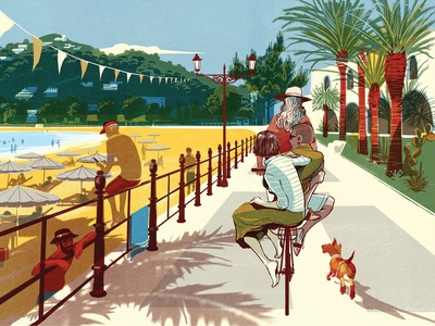 Solo Travel character people alex green summer adventure holiday travel editorial folioart digital illustration