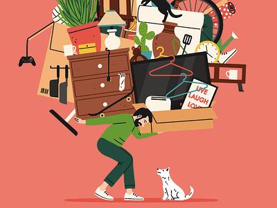 Helping Hand dog michael parkin home pet humour character folioart digital illustration