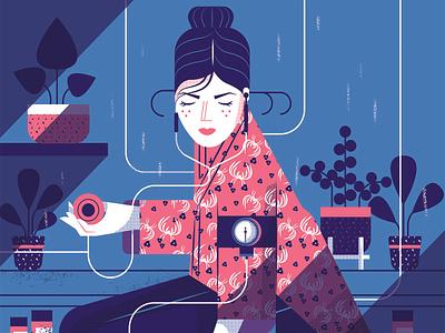 Hypochondriac maite franchi woman pattern plants health character editorial folioart digital illustration