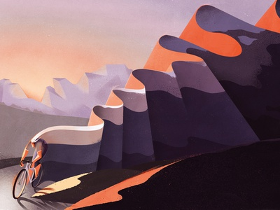 The Road eleni debo mountains bike conceptual travel landscape editorial folioart digital illustration