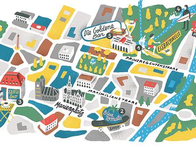 Munich antoine corbineau travel colour texture characters map editorial folioart digital illustration