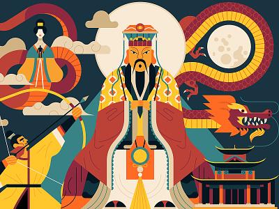 Chinese Myths dragon owen davey chinese mythology character folioart digital web illustration