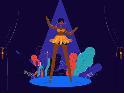 Josephine Baker chi-chieh lee stillframe line animation vector character editorial folioart digital illustration