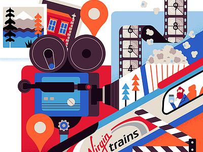 Sunday Times Virgin owen davey film travel character editorial folioart digital illustration