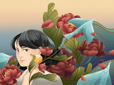 Self Portrait weitong mai pattern nature birds floral whimsical texture character folioart digital illustration