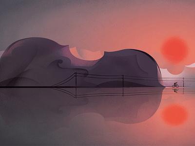 Requiem For Raimondas eleni debo conceptual music travel cycling texture editorial folioart digital illustration