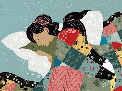 Restful Sleep sally caulwell vector woman pattern sleep character editorial folioart digital illustration