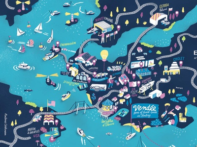Boating vector travel antoine corbineau sailing boat map folioart digital illustration