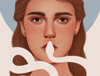 Punishment mercedes debellard woman drawn negative space conceptual snake portrait editorial folioart digital illustration