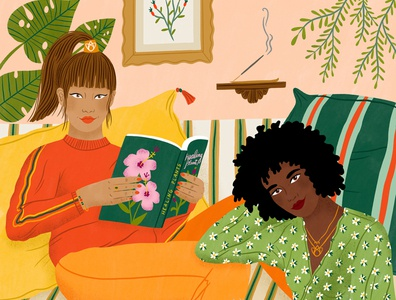 Friends plants botanicals fashion bodil jane pattern women character folioart digital illustration