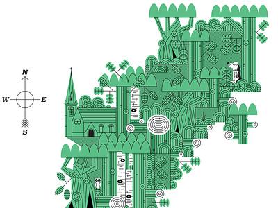 Epping Forest landscape folioart digital illustration john devolle vector line wildlife nature map screen print