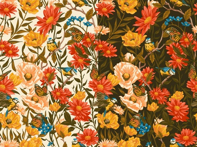 Pattern alexander wells nature pattern wildlife floral folioart digital illustration