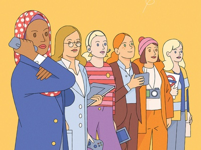 Strong Women kiki ljung people figures women vector character editorial folioart digital illustration