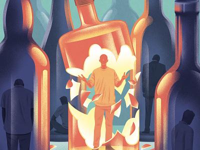 Alcohol texture kouzou sakai conceptual medical character editorial folioart digital illustration