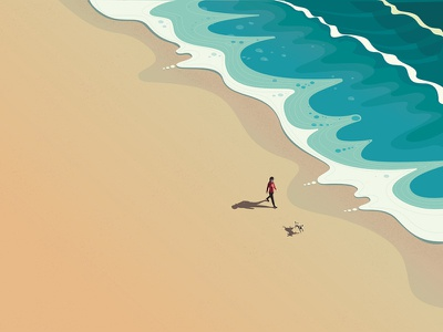 Beach sea vector walk peter greenwood beach editorial folioart digital illustration