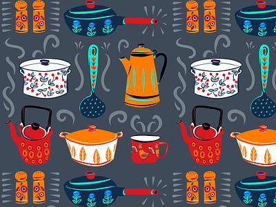 Retro Cucina josie jo procreate fall autumn kitchen crockery pattern vector folioart digital illustration