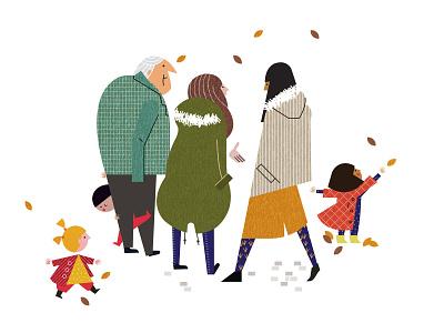 Park Life line sally cauwell fashion children fall autumn vector character folioart digital illustration
