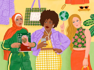 Podcasts clothes bodil jane colour women podcast fashion character folioart digital illustration