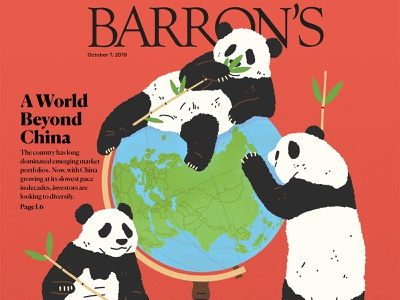 A World Beyond China michael parkin globe nature finance world animals panda editorial folioart digital illustration