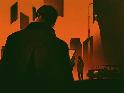 Black Cube karolis strautniekas mystery conceptual shadow silhouette texture editorial folioart digital illustration