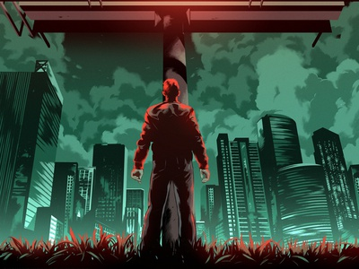 Kill All Others alexander wells poster graphic cinematic cityscape film character folioart digital illustration