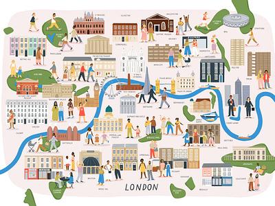 London amelia flower people city buildings characters london map character folioart digital illustration