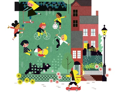 School sally caulwell play school children line vector character folioart digital illustration