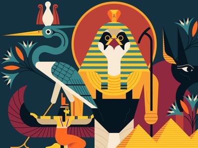 Egyptian owen davey web creature egyptian myth character vector digital illustration