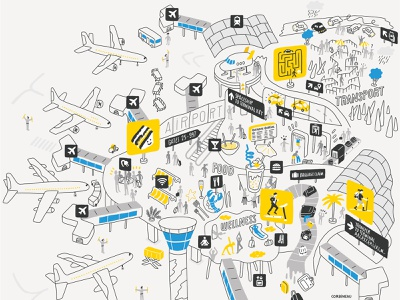 Airports vector antoine corbineau travel airport line editorial folioart digital illustration