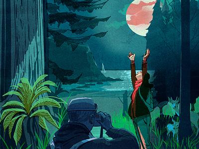 Babymoon alex green moon people landscape character editorial folioart digital illustration