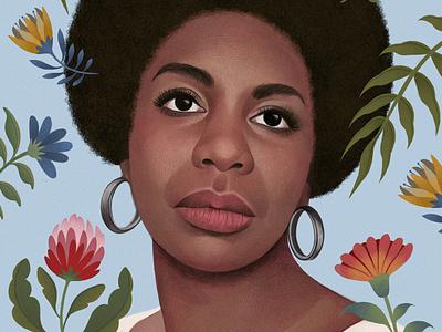 Nina Simone mercedes debellard portrait pattern floral realist drawn folioart digital illustration
