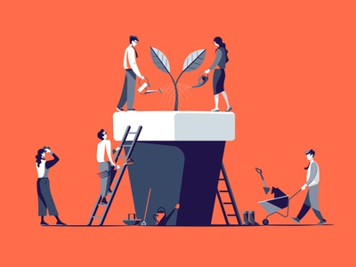 Water the Plant peter greenwood limited palette people business conceptual plant character folioart digital illustration