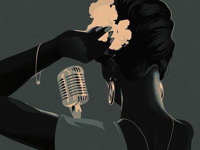 Lady Day musician folioart eleni debo lady print limited palette music retro digital illustration