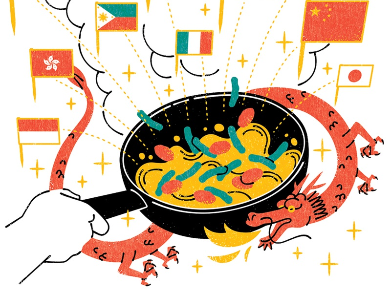 Asian Cooking kouzou sakai colourful graphic asian food cooking folioart editorial digital illustration