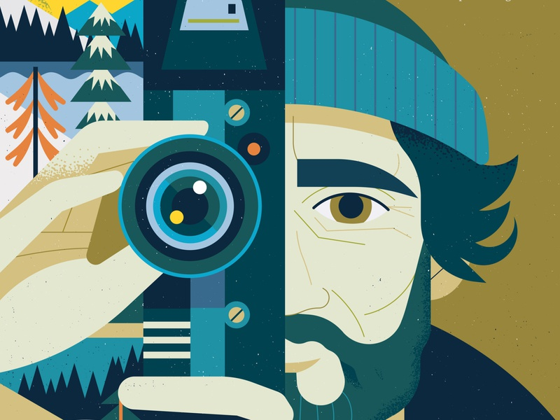 Yellowstone owen davey cover magazine film wildlife landscape portrait editorial character folioart digital illustration