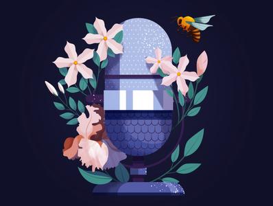 Olfaplay maite franchi flowers bee nature texture folioart digital illustration