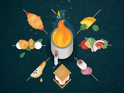 Fireplace sally caulwell flame texture vector food folioart digital illustration