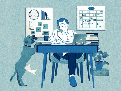 Hard at Work hifumiyo monday dog work texture character editorial folioart digital illustration