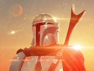 Mandalorian graphic texture rui ricardo sci-fi star wars film character folioart digital illustration