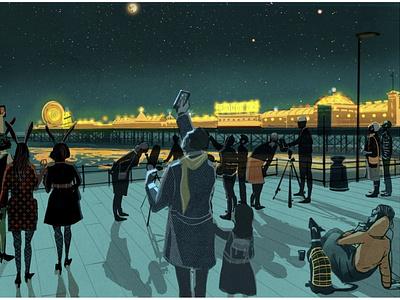 Brighton Astro Club stars city people night brighton astronomy editorial folioart digital illustration