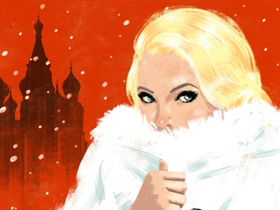 From Russia With Love winter russia painterly woman film character editorial folioart digital illustration